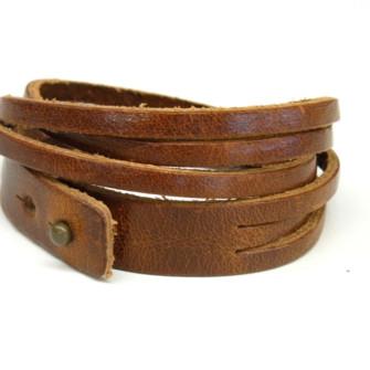 Brunt læderarmbånd