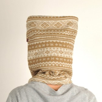Beige/hvidt tube tørklæde 9