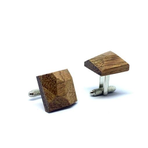 Manchetknapper i træ med diamant-form 3