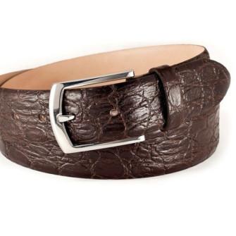 Klassisk læderbælte med krokodille-struktur mørkebrun