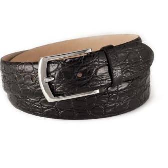 Klassisk læderbælte med krokodille-struktur sort