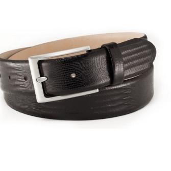 Læderbælte med firben-struktur sort