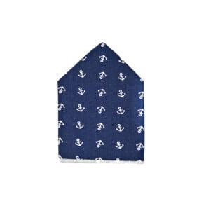Marineblåt lommetørklæde med ankre