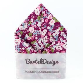 Magenta lommetørklæde med blomster