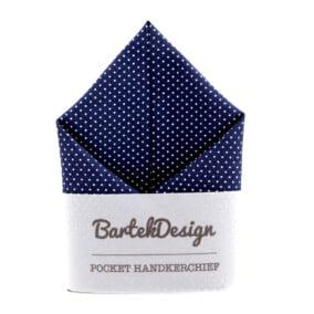 Marineblå lommetørklæde med hvide prikker