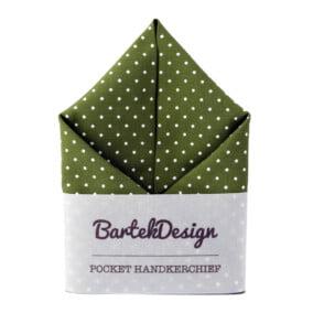Olivengrønt lommetørklæde med prikker