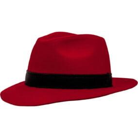 Rød Fedora-hat i filt
