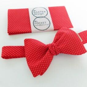 Rød polkaprikket butterfly og lommetørklæde