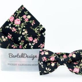 Sæt med butterfly og lommetørklæde med roser