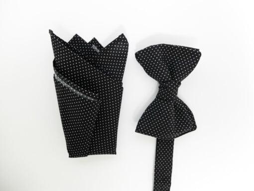 Sort butterfly og lommetørklæde med prikker