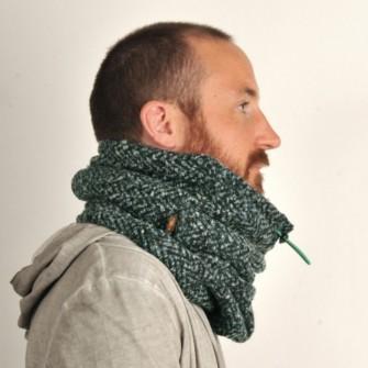 Sort/grønt tube tørklæde