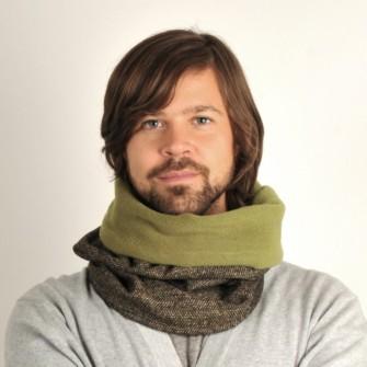 Sort/olivengrønt tube tørklæde