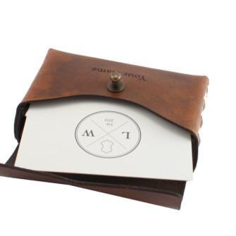 Visitkortholder i antik brunt læder